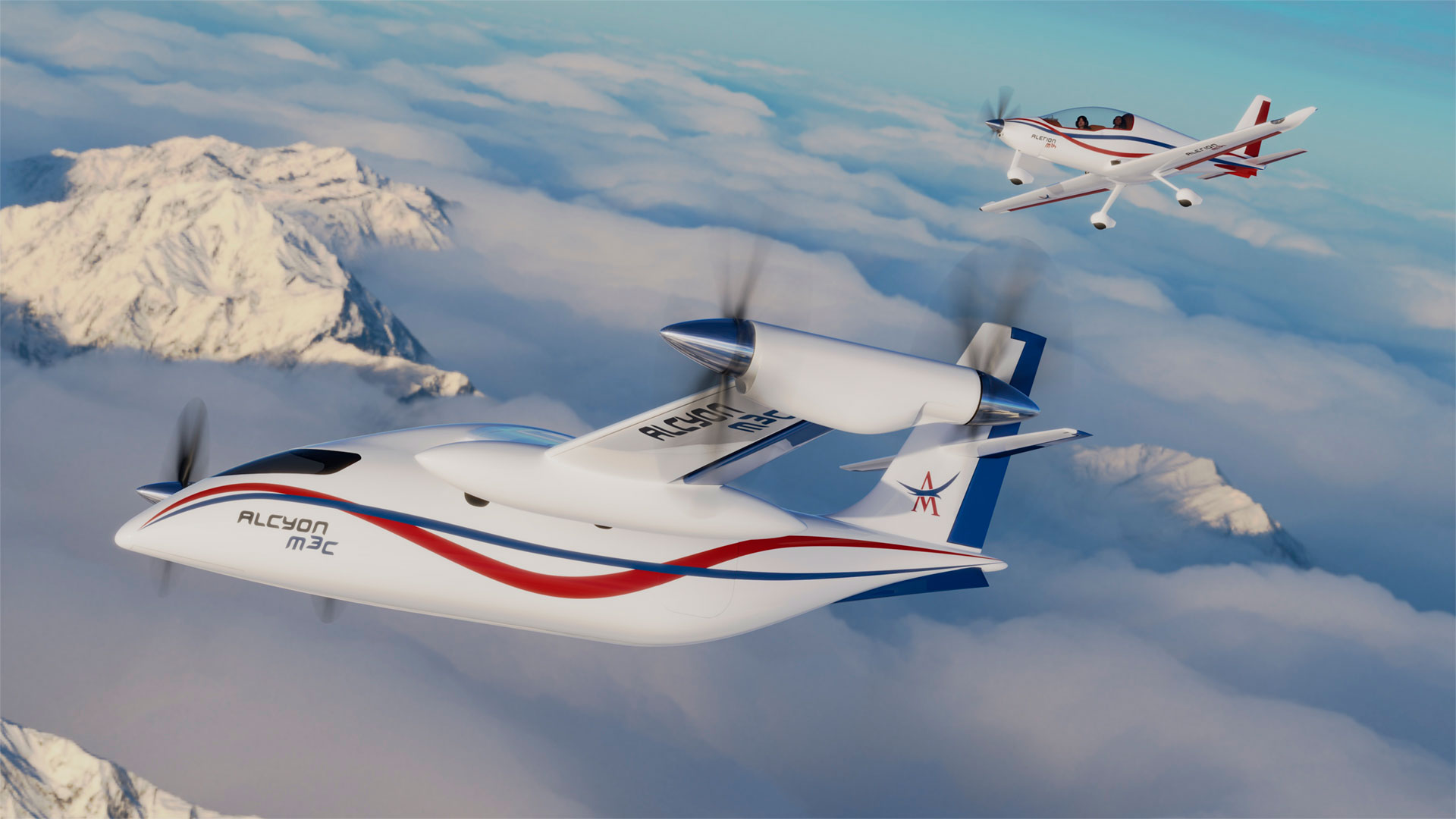 Concept Hybrid and hydrogen-powered aircraft, with short take-off and landing meeting the requirements of modern mobility